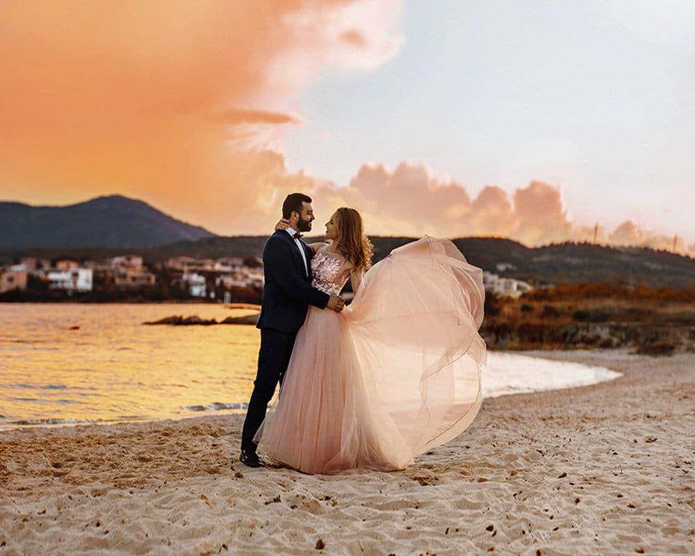 Свадебная фотосесссия на закате солнца. Коста Смеральда